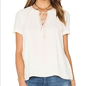 NWT GREYLIN MEGS TIE FRONT WOVEN TOP, IVORY,